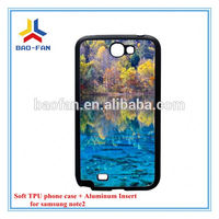 Blank Sublimation 2D Soft TPU Phone Case for Samsung Note2 with Aluminum Insert Heat transfer Phone Case