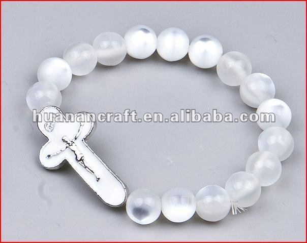 St. Benedict orthodox catholic artificial glass imitation pearl rosary prayer beads bangle bracelet