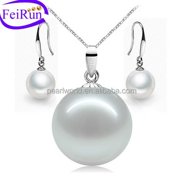 Simple design freshwater pearl set for women