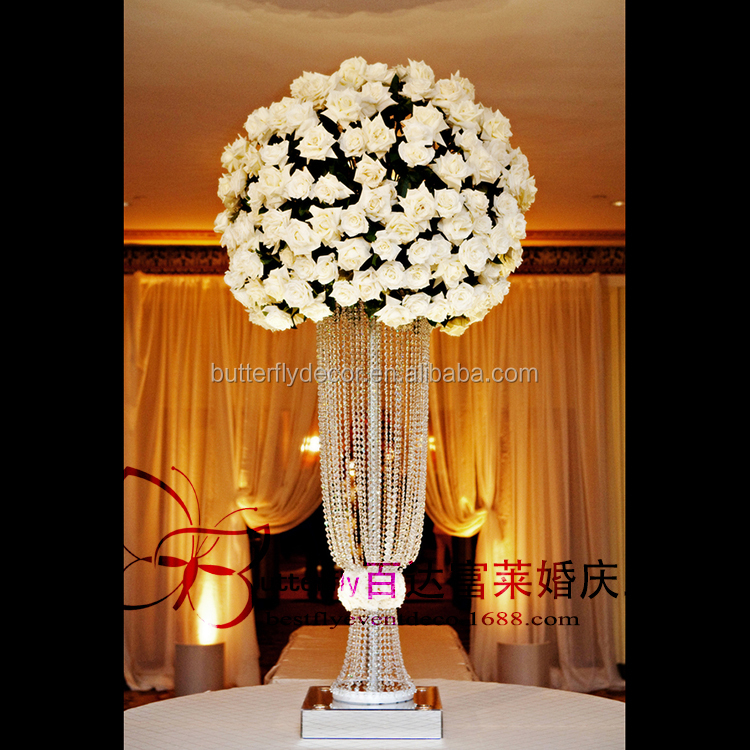 Silver Or Gold Tall Glamorous Rose Acrylic crystal beaded Wedding Flower stand Centerpiece table <strong>decorations</strong>