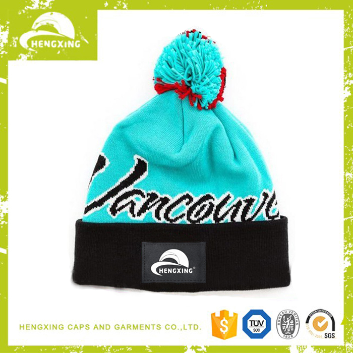 Embroidery logo screen printed wholesale pom pom hat knitting