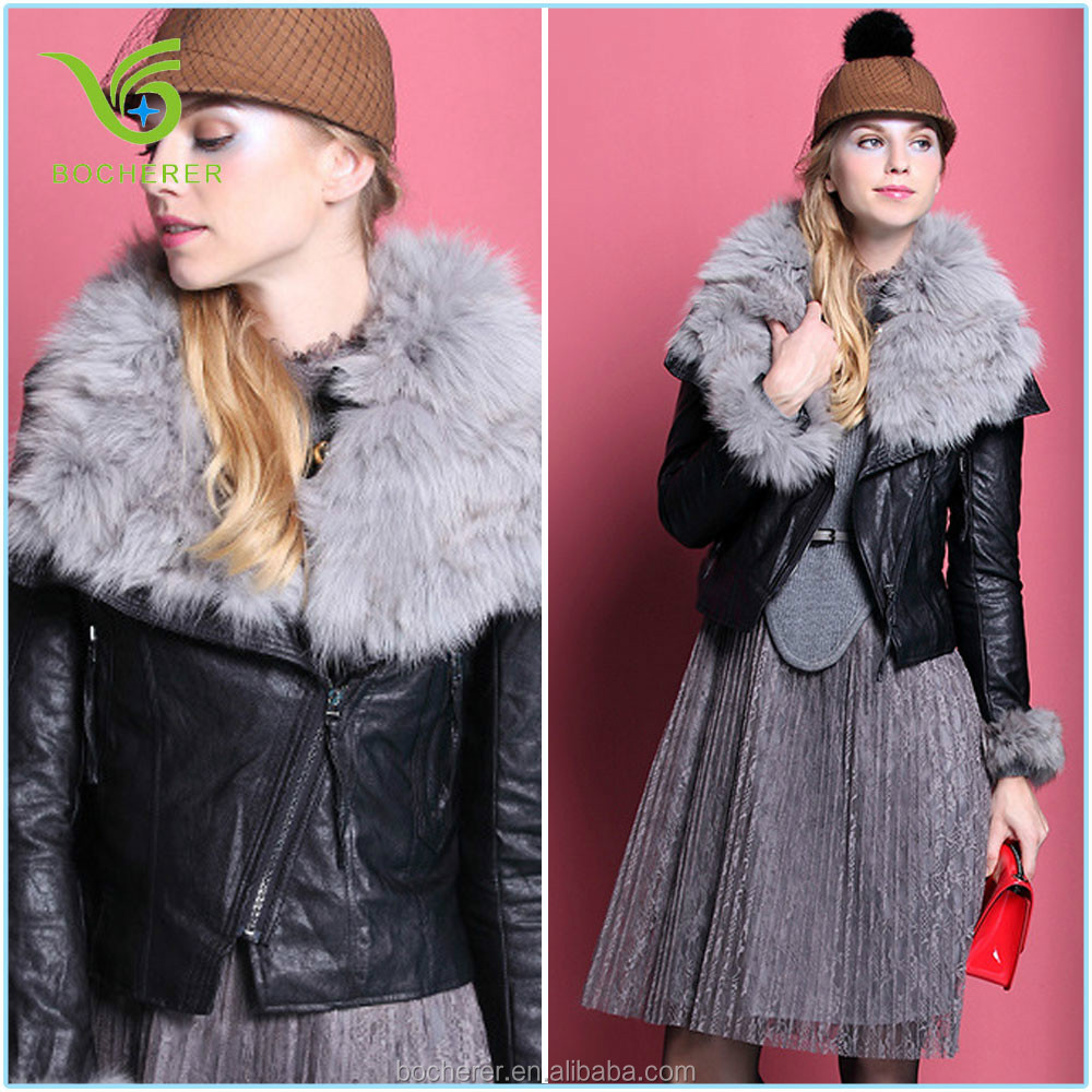 Casual jacket for woman racoon collar leather body