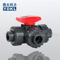 YDKL High Quality Pvc ball valve 3 way type 20mm
