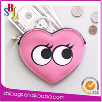 Girls pink funny printing PU heart shape coin purse for promotion gifts