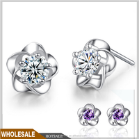 beautiful 925 Sterling Silver plum blossom Earring stud,cuff earring