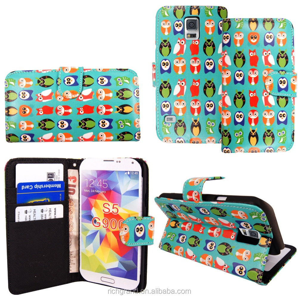 Cute Birds Wallet Flip Leather Case Cover For Samsung Galaxy S3 / S5 For Apple iphones