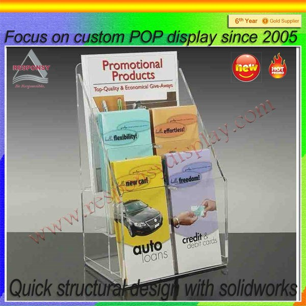 Innovative advertising small acrylic supermarket brochure display shelf