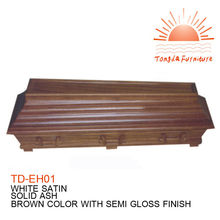 TD--EH01 European Style wholesale cheap funeral coffin wooden casket for adults