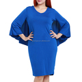 Wholesale casual dress plus size one-piece plain blue women's bat dresses