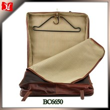 wholesale foldable vintage leather weekend travel garment suit cover bag