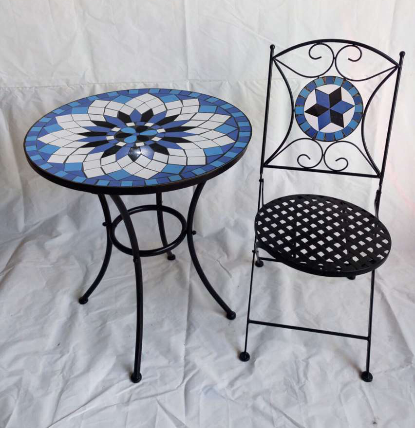 Metal mosaic garden outdoor furniture patio furniture set 1 pcs table +2 pcs chairs