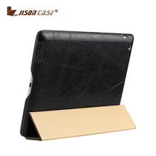 Jisoncase Professional genuine Leather for Ipad 2 3 4 Smart Case
