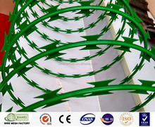 Hot dipped galvanized PVC coated iron razor barbed concertina wire coil
