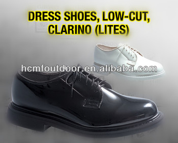 Black Shinny Clarino PU Leather for military shoes
