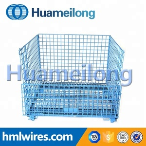 Heavy duty collapsible bulk wire storage pallet cage with wheels