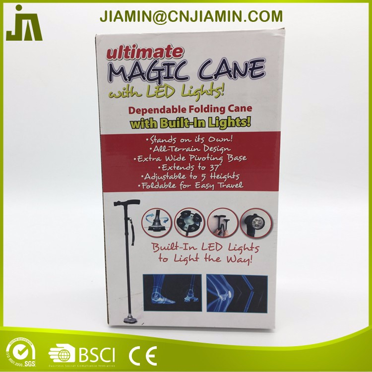 Folding cane with six LED lights