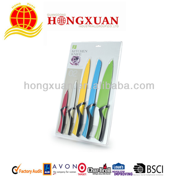 5pcs Soft Grip Handle Non-stick Coated Stainless Steel Knife Set With Blister Card Package