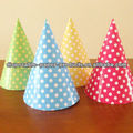 Girls PRINCESS Pastel Paper Party Cone Hats Caps in Pink Polka Dots for Birthday Party Shower Supplies