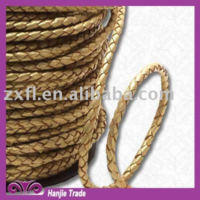 Wholesale Metallic Gold Braided Knitted Leather Cord