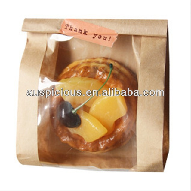 Egg tart kraft paper bag with clear window bread bag