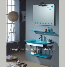small nice wall mounted newly hot sell glass Bathroom Vanity with lamp bathroom cabinet bathroom furture