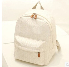 cheap but beautiful lace white backpack for high school girls
