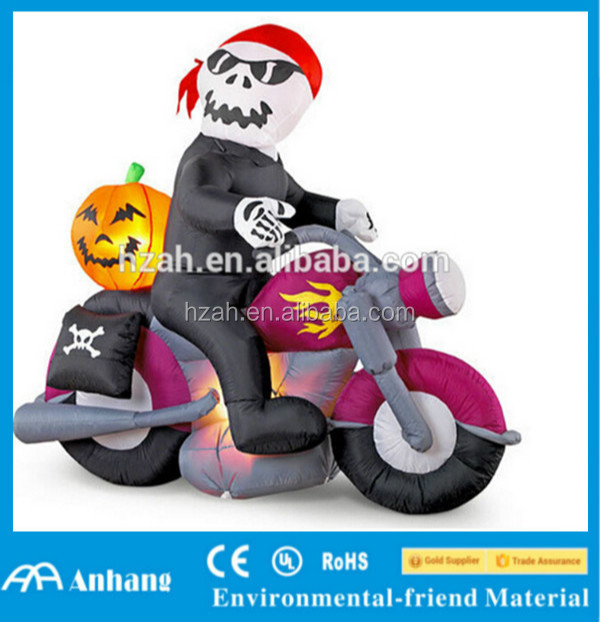 Halloween Inflatable Skeleton with Motorcycle