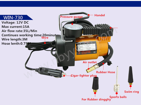 DC12V TORNATO AC580 portable 30mm single piston dc 12v 150 psi Mini Tyre Inflator