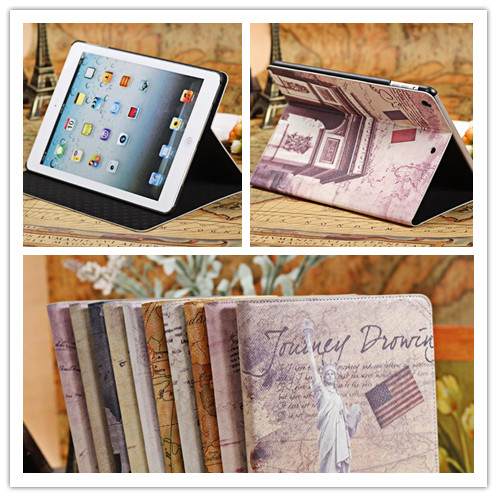 PU Leather Stand Ultra Slim Cover Case for ipad 5,ipad Air