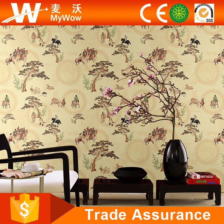 Chinese Design Wallpapers TV Wall Background Hotel Wall Coverings with Tree Animal