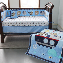 OEM custom design OEKO-TEX CERTIFICATE lion round baby crib bedding set