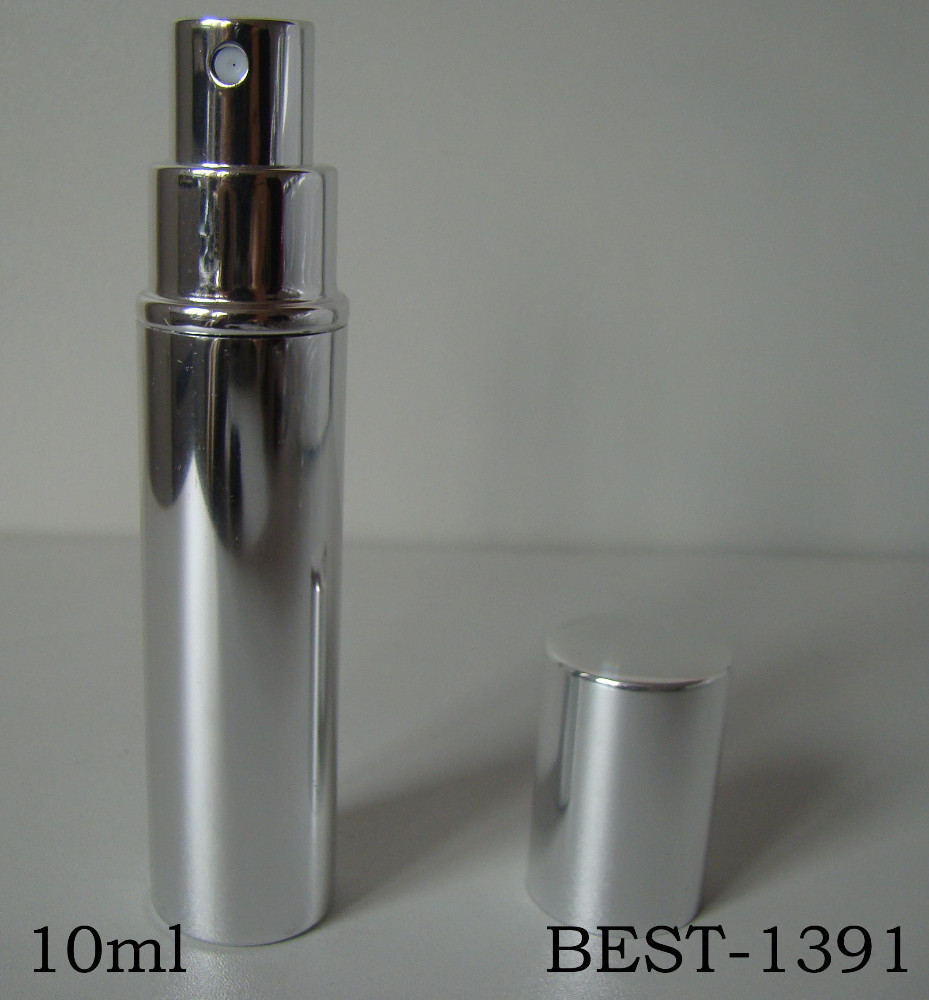 10ml aluminum shining silver perfume bottle, glass shining silver perfume bottle