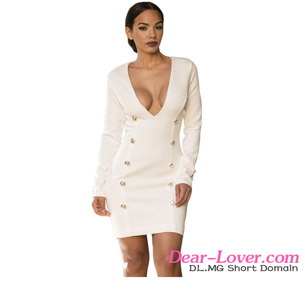 Beautiful White Long Sleeve Plunge V dress sexy girl without wearing clothes