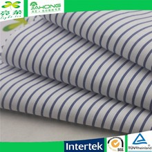 China supplier yarn dyed blue white stripe elastic clothing fabric