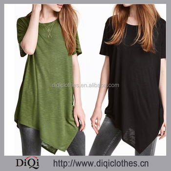 2017 Latest Women Asymmetric Long Slub Jersey Short Sleeves And Asymmetric HemT-shirt