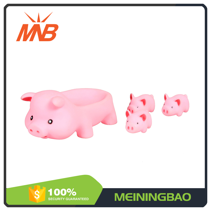 Lovely plastic pig family soft baby pinching toys mini rubber pigs for girls