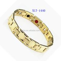 Men's Gold Plated Titanium steel Bracelet Jewelry Energy Health Healing Magnet Bracelets For Man Hand Band Link Chain Bracelets