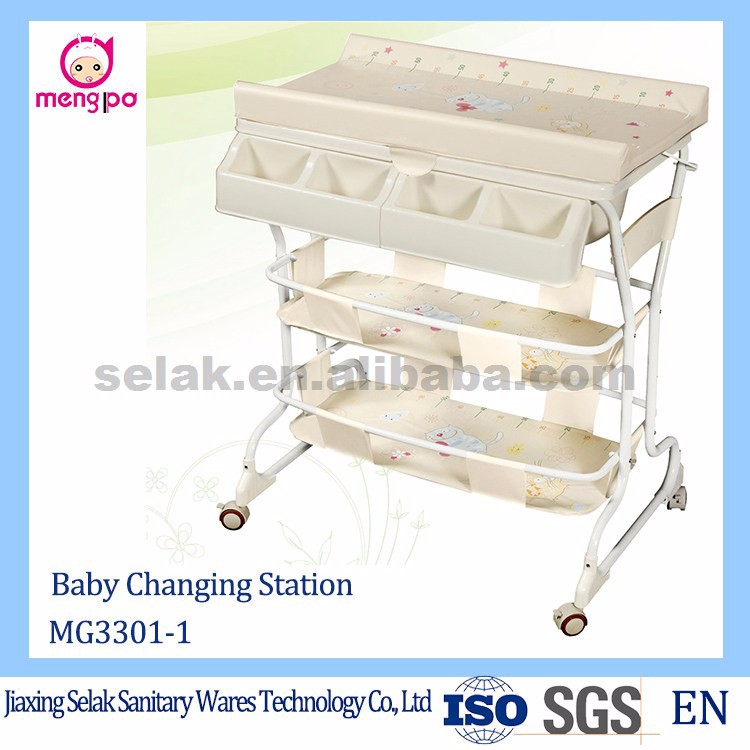 freestanding baby change table portable baby bath tub diaper changing station with mat for babies