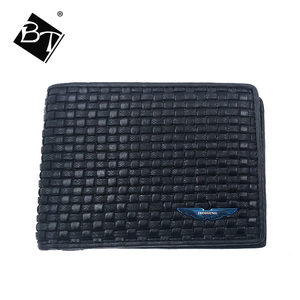 BT fashion hot selling woven braided clip genuine leather men slim short rfid wallets