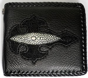 Black Genuine Stingray Skin Leather Gothic Cross Motorcycle Harley Biker Mens Bifold Wallets for Chain Accessories