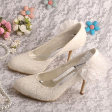 Ladies Mid Heel Court Shoes White Lace