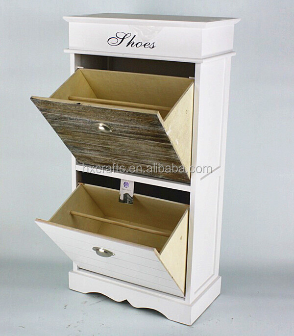Modern White And Brown Two Drawer Shoe Cupboard,Shoe Wardrobe,Shoe Store Furniture