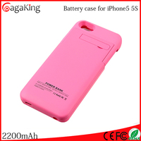 Wireless battery case for iphone 5 5S ABS+PC 2200mah rohs power bank