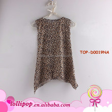 New Frock Style Photo Girls Leopard Print Symmetrical One Piece Casual Tank Dress Kid /Toddler Sleeveless Mini Dress Cutting