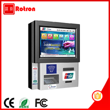 Smart design Self service wall mounted Cash acceptor bill payment kiosk with RFID card reader