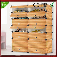 Multi Use DIY Plastic 12 Cube Shoe Rack, Shoes Cabinet Black with White Door