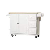 White Mobile Portable Movable Extendable OAK Wood Top Rolling Butcher Block Kitchen Center Island For Sale