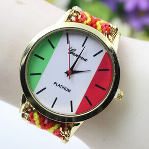 China Hand made Fashion Mental Case Fabric Watch Italy Flag Watch