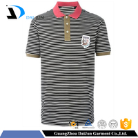 Guangzhou Daijun oem 100%cotton short sleeve Polo neck with 200g gray stripe embroidered mens polo shirts 100% cotton
