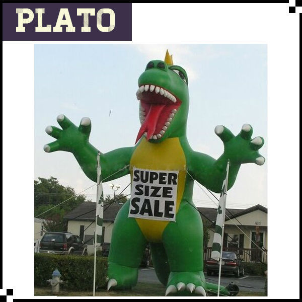 printing inflatable stand eating green dinosaur, air blown dinosaur with two paw character for exhibition